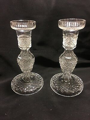 """Waterford Crystal Pair of Alana Candlesticks Candle Holders 7 7/8"""" Tall Ireland"""