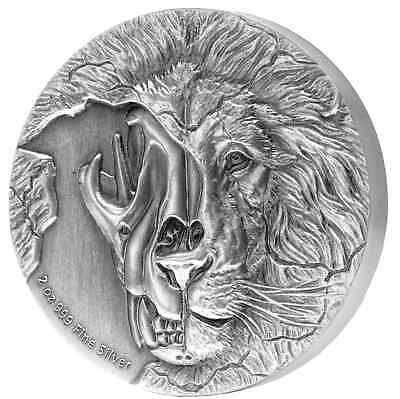 Asiatic Lion Skull Beast'S Skull – 2018 2 Oz High Relief Pure Silver Coin Niue