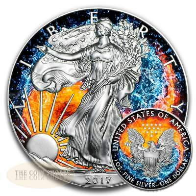 FIRE AND WATER - YING YANG - 2017 1 oz American Silver Eagle Coin - Color