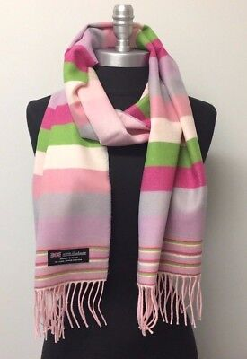 Lady Women New 100%CASHMERE SCARF SCOTLAND SOFT Wrap Stripe Pinks/green/lavender