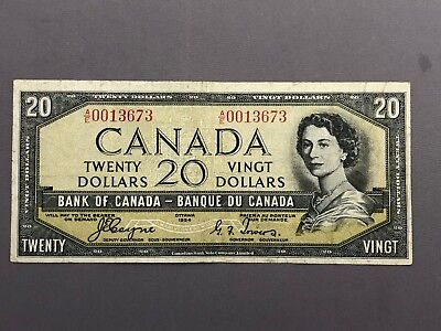 Canada 20 Dollar 1954 Bank of Canada Coyne Towers Devils Face Low Serial # VF20