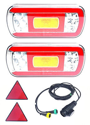 2x LED Tail Light 7m 13 Pin Wiring Pendant Triangle Reflector Free