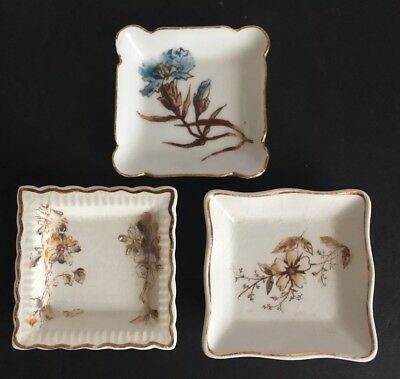 Vintage Butter Pat Dish Lot ~ Square Pats with Floral Designs ~ Lot of 3