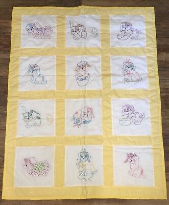BABY Quilt Blanket CRIB Yellow PUPPY DOGS Handmade EMBROIDERED PUPPIES New