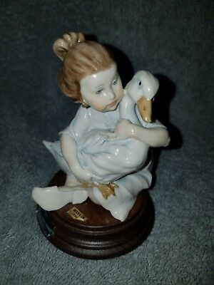 """G. Armani Little Girl Holding Duck Made In Italy Signed 4"""" Tall"""