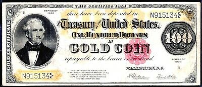 "Gold Rush!! 1922 Large-Size $100 ""in Gold Coin"" Fr-1215 Gold Certificate"