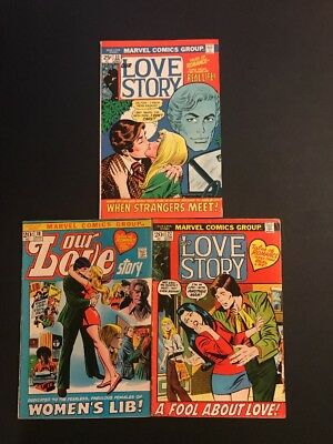 Marvel Comics Our Love Story (1970's) 18,27,33