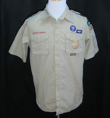 BOY SCOUTS Mens Beige Short Sleeve Scouting Uniform Button Shirt (Size Medium)
