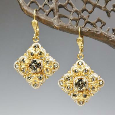 63b215c86 La Vie Parisienne Catherine Popesco Baroque Earrings Black Diamond Crystals