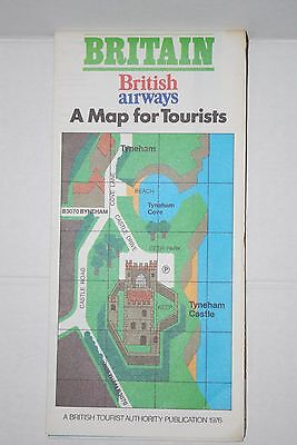 VINTAGE 70s BRITISH AIRWAYS BRITAIN A MAP FOR TOURIST IRELAND LONDON FRAMEABLE