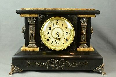 Vintage Seth Thomas Adamantine Mantle Shelf Clock # 102 - Working