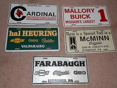 5 Metal Chevrolet Buick Cadillac Olds Dealer License Plates In., Pa., Mo., Ky