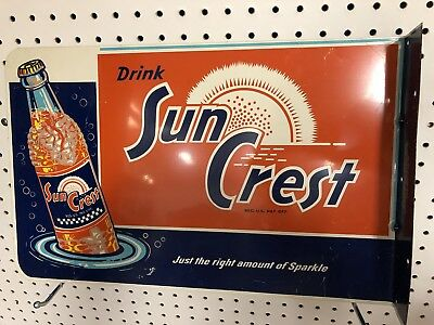 Rare Hard To Find Orange Crest Metal Sign Double Sided With Flange Stout Manufac