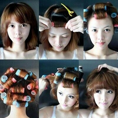 6pcs/set Reusable DIY Self-adhesive Hair Rollers Curlers Styling Tools for Girls