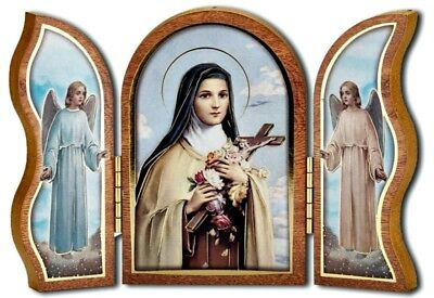 St. Therese of Lisieux Little Flower Tryptypch - Wood - NEW Made In Italy Faith