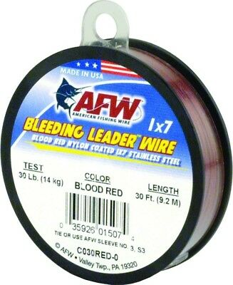 AFW C030RED-0 Bleeding Leader Wire Nylon Coated 1x7 Stainless, 30 lb