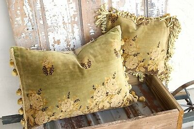 Pair Antique French Victorian Vintage Velvet Fabric Floral Roses Pillow Cushion