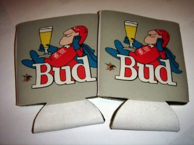 Bud Man 70's style Beer Can Koozies, soft fabric, set of 2
