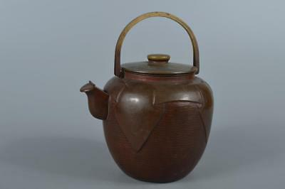 R3478: Japanese Finish hammer pattern OLD COPPER BOTTLE Teapot Tea Ceremony