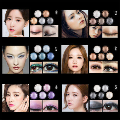5 Colors Shimmer Metallic Eye Shadow Palette Stereo Roast Eye-shadow w/ Brush