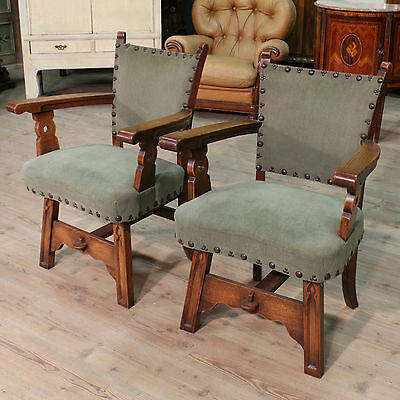 Couple armchairs carved wood oak fabric green furniture rustic antique style