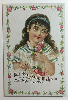 Victorian Trade Card New Home Sewing Machine Co Girl w Roses Flowers