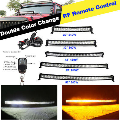 """22"""" 32"""" 42"""" 50"""" 52"""" Amber/White/Strobe Dual Colors Led Curved light Bar + Wiring"""
