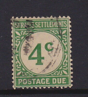 """Straits Settlements 1924 - 4 Cent """"postage Due """" Stamp"""