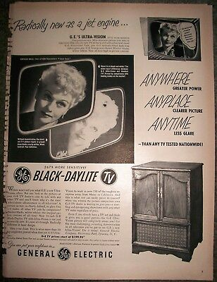 1952 RARE GE 'BLACK-DAYLITE' TV Sets 'I Love Lucy - Lucille Ball' AD