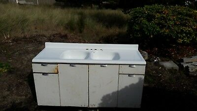 Antique Porcelain Cast Iron Farmhouse double Sink drainboards w metal cabinets