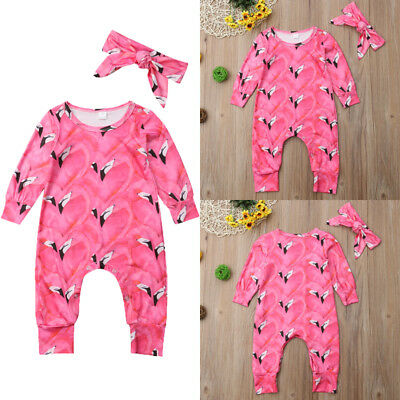 Newborn Baby Girls Long Sleeve Floral Romper Jumpsuit Playsuit+Headband Clothes