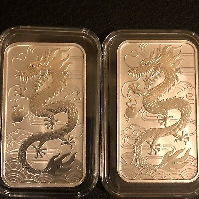 2x 2018 Perth Mint 1oz Silver Dragon Rectangle Coin Bar