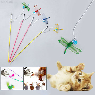 64D7 Plaything Interactive Pet Toys Durable Feather 3 Color Kitten Amuse Rod