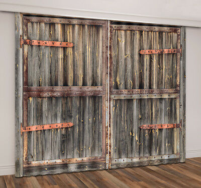 Vintage Wooden Rustic old Barn Door 3D Printing Window Curtains Blockout Fabric