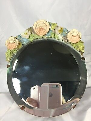 """ORIGINAL"" VINTAGE 1950's ITALIAN BAROLO BEVELED VANITY MIRROR WITH GESSO FLOWER"