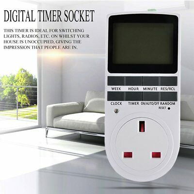 7Day Programmable Digital Electronic Power Timer Switch Socket 240V UK Plug LEG