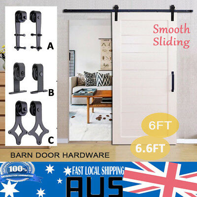 1.83/2M Sliding Barn Door Hardware Track Set Blk Home Bedroom Closet Roller Kit