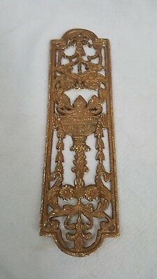 Antique Vintage Ornate Brass Push/finger  Door Plate.