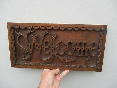 "A Quite Large Edwardian Carved Oak ""WELCOME"" Sign c1910"