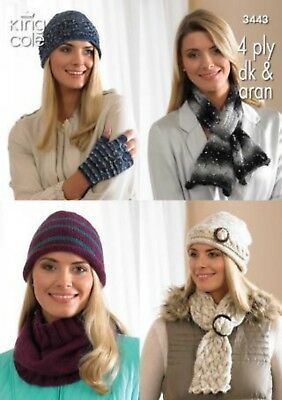 King Cole Knitting Pattern  3443:Ladies Hats,Scarves,Cowl & Fingerless Gloves