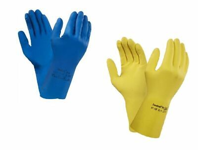 12 24 Pair Ansell Strong Yellow Or Blue Latex Rubber Household Washing up Gloves