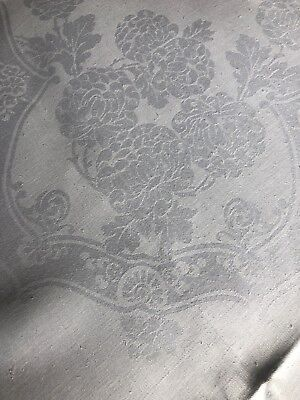 Lovely White Irish Linen Double Damask Large Oblong Banquet Tablecloth Vintage