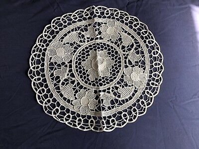Vintage Beige Italian Point De Venise Lace Round Table Centrepiece Large Doily