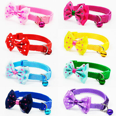 Lovely Pet Dog Cat Collar Adjustable Puppy Kitten  Bowknot Bell Necklace Chain
