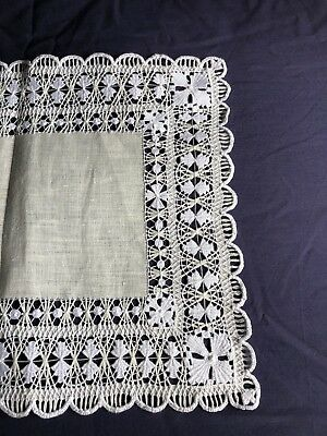 Vintage Cream Linen Hand Worked Tenerife Lace Oblong Table Runner Dresser Scarf