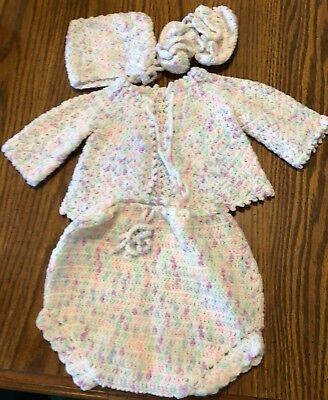 Vintage Crochet Verigated Baby or Doll Sweater Hat and Booties Handmade 6-9 Mo.