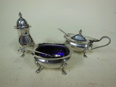 Hallmarked Silver 3 Piece Condiment Set with Blue Glass Liners & Silver Spoons