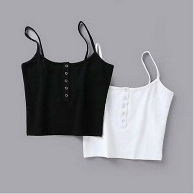 Basic Button Front Cami Crop Tops Women Sleeveless Casual Strap Camisole 8C