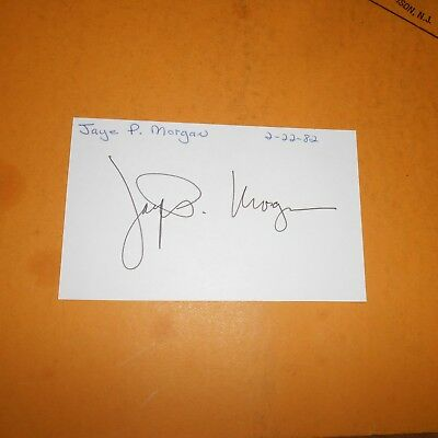Jaye P. Morgan is a retired American popular music singer Hand Signed Index Card