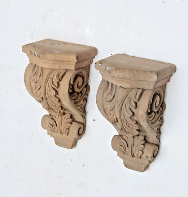Pair Of Stunning Genuine Hand Carved Wooden Gothic Fancy Style Corbel Bracket